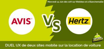 DUEL UX : entre les sites mobile Hetz.fr et Avis.fr