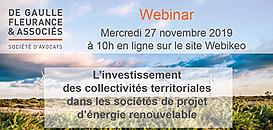 L'investissement des collectivités territoriales dans les sociétés de projet d'énergie renouvelable