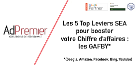 Les 5 Top Leviers SEA pour booster votre Chiffre d'affaires : les GAFBY (Google, Amazon, Facebook, Bing, Youtube)