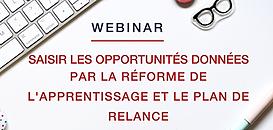 Saisir les opportunités données par la réforme de l'apprentissage et le plan de relance