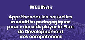 Appréhender les nouvelles modalités pédagogiques pour mieux déployer le Plan de Développement des Compétences